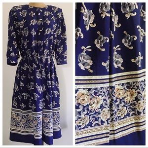 Vintage Navy Blue Floral Dress